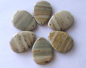 Silver Leaf Jasper Gemstone Pendants, Craft Supplies, Focal Beads, Teardrop Pendants, Jasper Gemstones, Jewelry Making, Jasper Pendants (1)