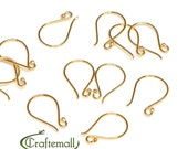 2 Vermeil earwires (24k gold plated over sterling silver) - simple fishhook small (1 pair) BFEW005S-V
