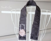dslr camera strap cover, soft dusty pink rosette, white sketched frame, charcoal ruched cotton fabric