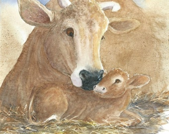 Original Watercolor 9x12 a cow and her calf bond together The Family Tie bowman