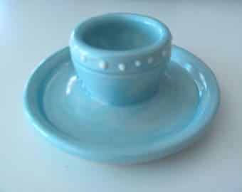 Egg Cup Handmade Pottery Stoneware Aqua Blue Ceramic Kitchen Dish Discounted Second