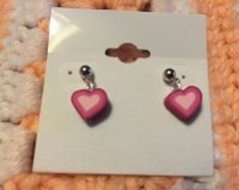 Bright Pink Heart Post Earrings Polymer/Fimo