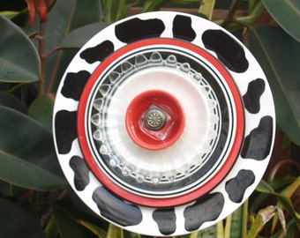 Red Cow Spots Scarlet Black Glass Plate Flower Vintage Repurpose