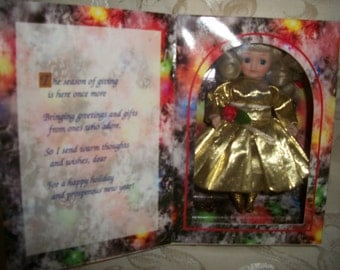 Vintage Marie Osmond Christmas Porcelain Doll Greeting Card Limited Edition