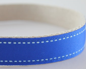 Hemp dog collar - Royal Blue Saddlestitch