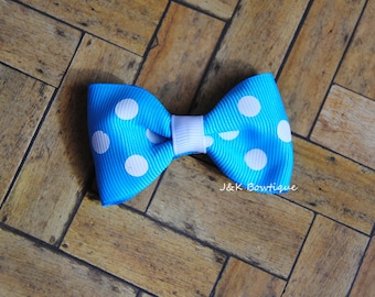 Teal with white dots...Mini Bow