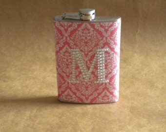 Pink and White Victorian Diamond Print with ANY Rhinestone Initial 8 ounce Stainless Steel Girly Gift Flask KR2D 5423