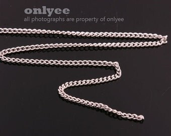 1Meter(1yd)- 1.2mm x0.8mm Bright Rhodium flat cable chains deilcate fine chains / jewelry making necklaces(N138S)