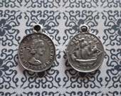 Ethnic British Coins - Two Sided Charms or Pendants - Oxidized & Antiqued Silver Sterling Plated Pewter - Qty 2