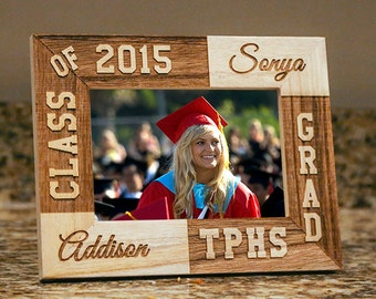 Personalized Graduation Frame-Graduation Gift-Class of 2015 Grad-Wood Engraved-New Graduate frame-Graduation-Color Choice