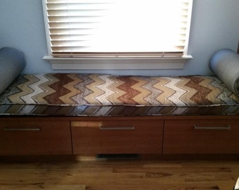 Custom Bench, Window Seat and Bolster Cushions and Covers