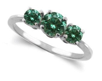 green diamond ring  14k white gold