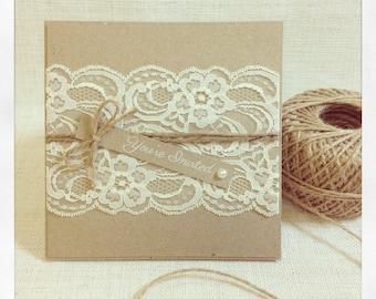 Rustic Wedding Invitation - Rustic Vintage Lace Square Invitation SAMPLE