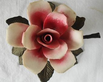 VINTAGE PORCELAIN BRASS Flower Desk Ornament Decor Porcelain China Pink Rose With Brass Stem and Leaves Vintage Sculptured Porcelain Rose