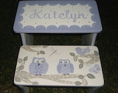Custom Bench Step Stool Purple Grey Birds Trees Owls Butterflys STOOL Kids Furniture and Decor Home and Living