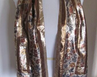 Beautiful Dillards Metallic Gold Scarf - 11 x 56 Long - Made in Italy