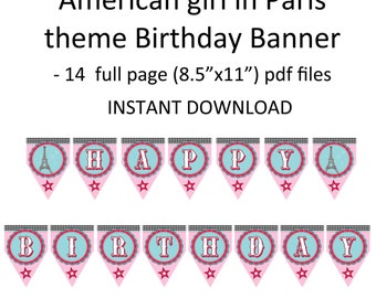 Printable DIY American girl in Paris Eiffel Tower Parisian Theme Birthday Banner