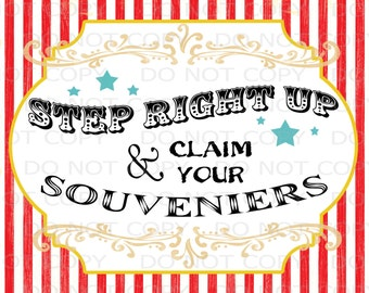 """Printable DIY Vintage Circus Gifts station sign - 8""""x10"""" INSTANT DOWNLOAD"""