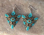 Chocolate and Turquoise Triangle Beaded Earrings