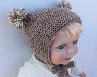 Knit Teddy Bear Baby Hat. 6 months. Brown Knit Baby Hat. Kand Knit Baby Bonnet. Teddy Hat. Knit Pompom Baby Hat