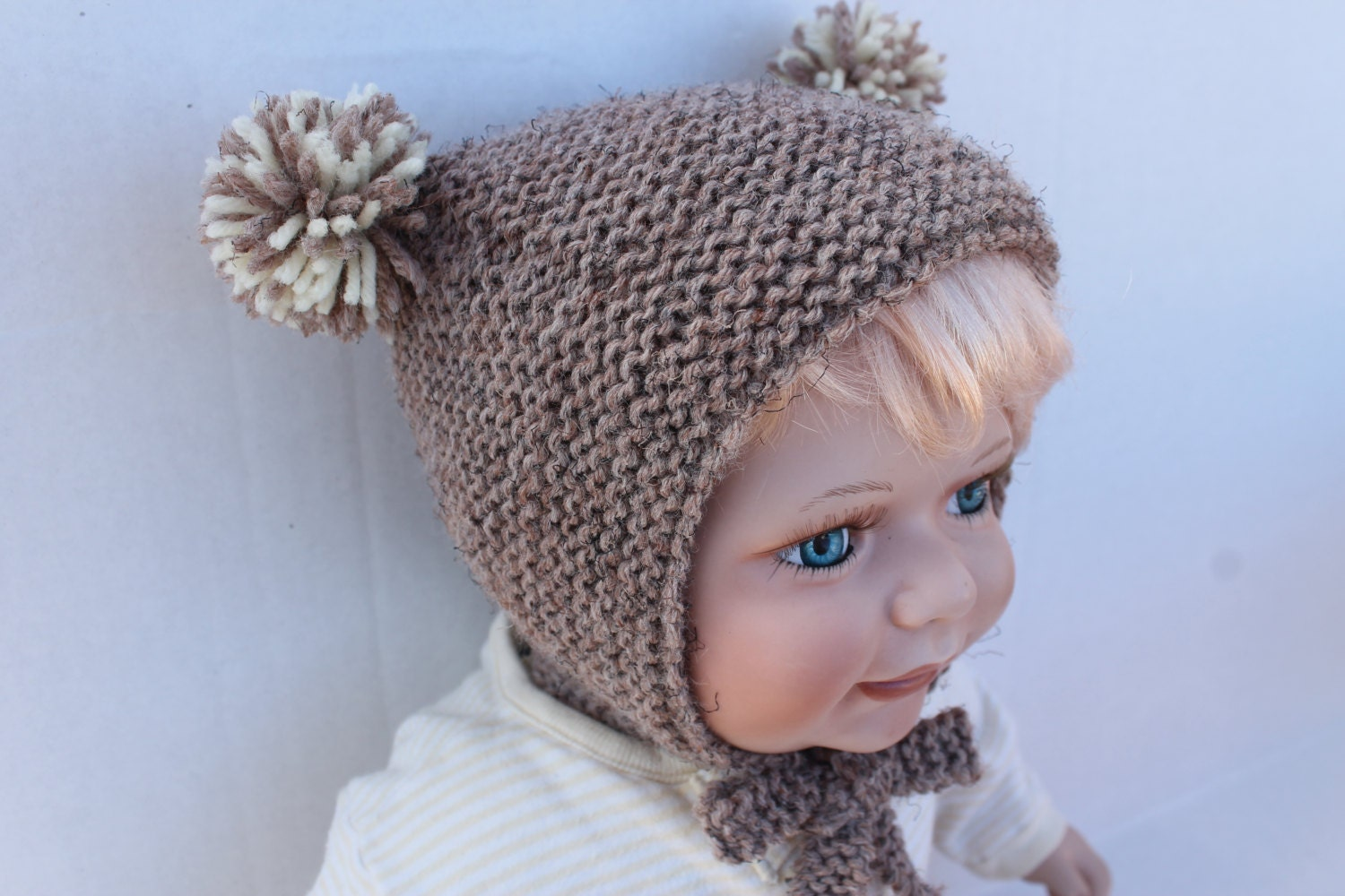 Knit Teddy Bear Baby Hat. 6 months. Brown Knit Baby Hat. Kand