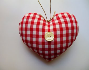 Red and White Gingham Mini HEART * Heart * Country Cottage Heart * Red and White Little Heart Pillow * Gingham * French Cottage