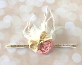 Pink and Gold Handmade Couture Headband - Silk and Satin Couture Newborn Photo Prop Headband - Light Pink Gold Lace and Pearl Headband