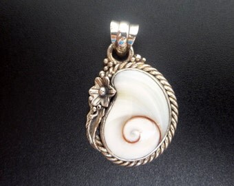Sterling Silver Shell Statement Pendant - Handmade Sterling Silver Shiva Eye Pendant - White Shell Pendant - Spiral Pendant