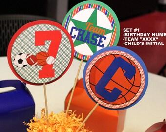 Sports party centerpiece sticks - all sports birthday centerpiece, football centerpiece, baseball centerpiece, soccer centerpiece basketball