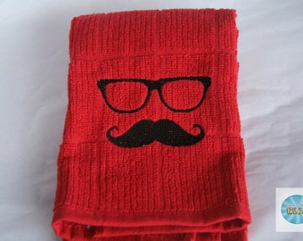 Geek Mustache and Glasses Kitchen Towel
