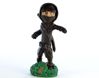 Punching Ninja - Original OOAK Polymer Clay Figurine - Cake Topper, Shelf or Desk Ornament or a Great Gift - Free US Shipping