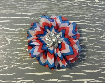 Large Red, White, and Blue Chevron Ballerina Flower Hair Clip with Bling Button Center, 4th of July Bow, 4th of July Flower