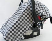 Grey Argyle Carseat Canopy