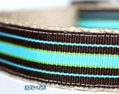 ON SALE - Teal and Brown Stripe Dog Collar, Adjustable Dog Collar, Pet Collars, Boy Dog Collar