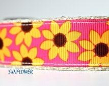 Sunflower Dog Collar, Floral Dog Collar, Adjustable Dog Collar, Girl Dog Collar, Yellow Dog Collar