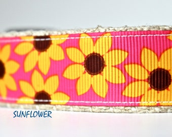 Sunflower Dog Collar, Floral Dog Collar, Adjustable Dog Collar, Girl Dog Collar, Yellow Dog Collar