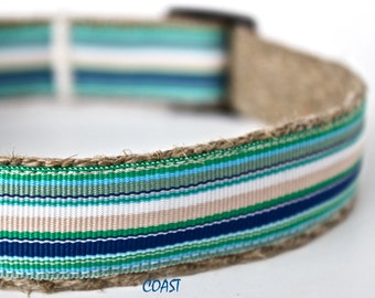 Stripe Dog Collar, Preppy Collar, Teal Stripe Dog Collar, Pet Collar