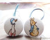 Girl Hair Accessories, Big Hair Tie Button Ponytail Holders - Fairy Tale Blue Peter Rabbit Collection, Bunny and Goose Set (1 Pair)