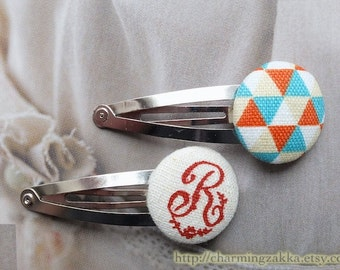 SUMMER SALE - Hair Accessories, Handmade Hair Snap Clips - Fabric Button Vintage French Red Script Letter R Geometry Triangle (1 Pack)