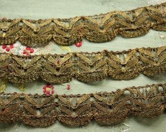 Antique metal lace gold bronze flapper ribbonwork trim 1/2 yard intricate genuine metal millinery lampshade