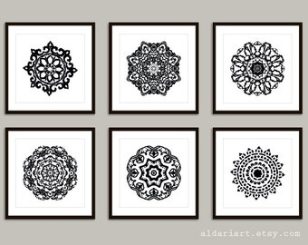 Mandala Art Prints - 8x8 or 8x10 - Modern Medallion Wall Art