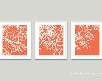 Modern Tree Branches Art Prints - Set of 3 - Modern Nature Wall Art - Coral and White - Contemporary Minimalist Tree Trio Wall Art