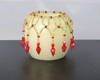 Beaded candle cover, candle accessories, Home decor, candle jewelry, LED candle