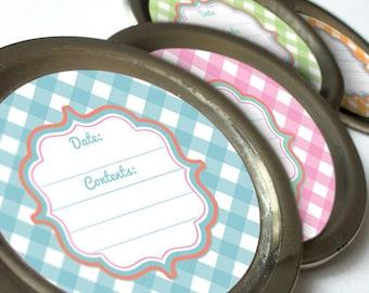Cottage Chic Gingham canning jar labels, round mason jar labels, fruit preservation stickers, jam jar labels, pink blue orange green