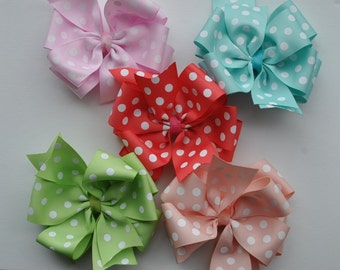 SUMMERTIME Polka Dot Double Layered Bows