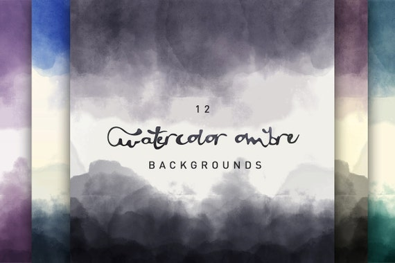 12 Watercolor Ombre Digital Backgrounds
