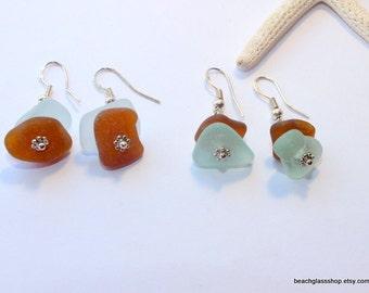 Sea Glass Earrings - Beachglass Jewelry - Lake Erie Beach Glass