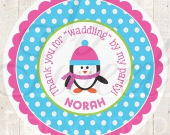 Girls Penguin Birthday Favor Sticker Labels - Girls Penguin Birthday Party - Winter Onederland Birthday Party Decorations - Set of 24