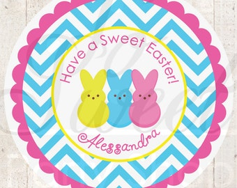 Easter Stickers - Marshmallow Bunny Stickers - Easter Party Decorations - Favor Stickers - Personalized Stickers - Party Favors - Set of 24