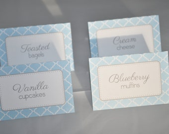 Boys Baby Shower Food Label Tent Cards - Buffet Labels - It's A Boy Baby Shower Decorations - Blue and Gray - Set of 12